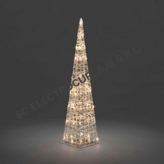 Piramida luminosa, transparenta, 60 LED-uri alb cald, 90 cm inaltime